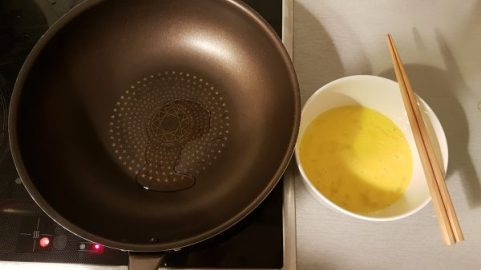 beat the eggs and heat the pan